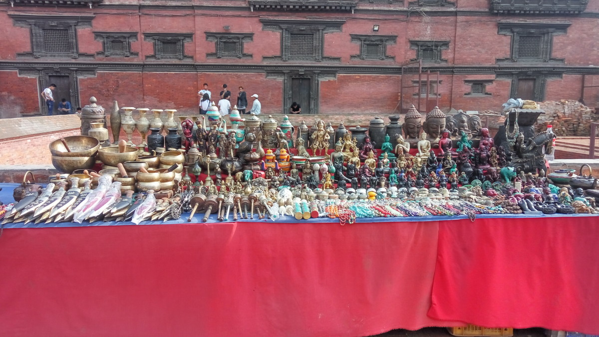 A souvenir table in Darbur market square, Kathmandu