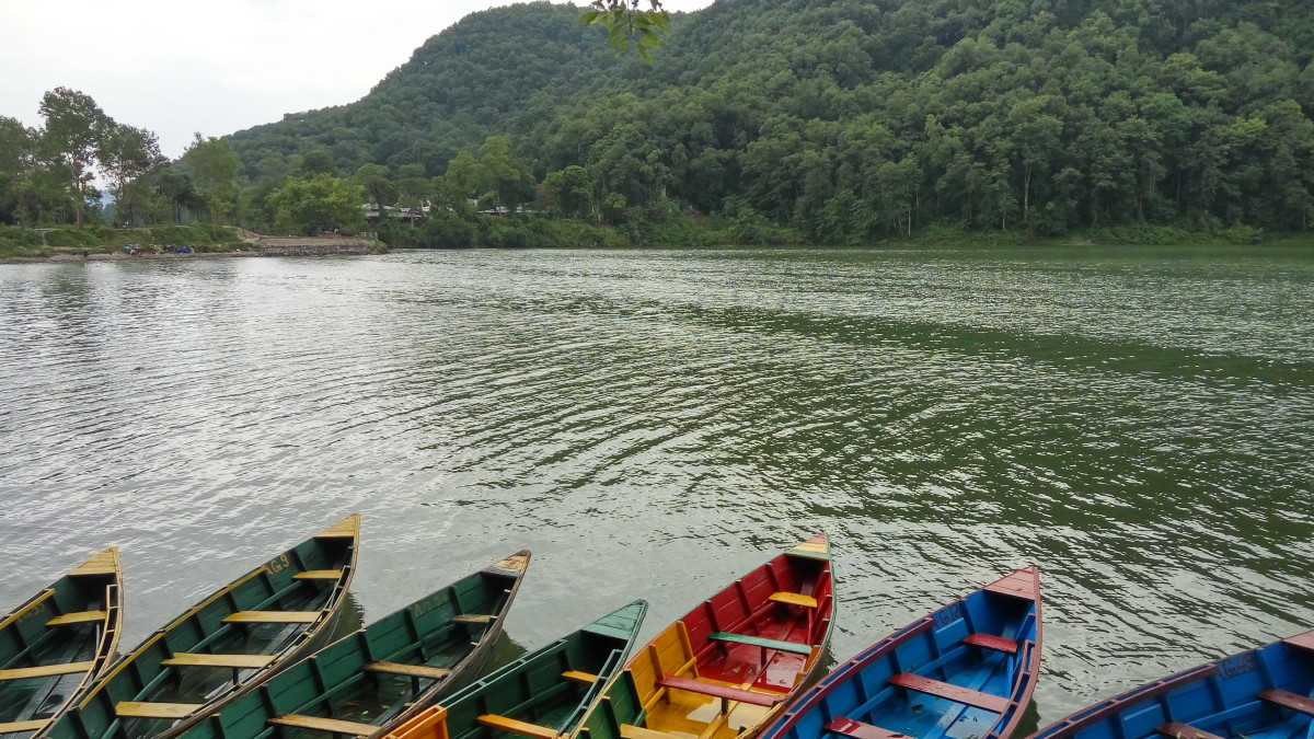 Boats sitting idle in Fewa lake, Pokhara