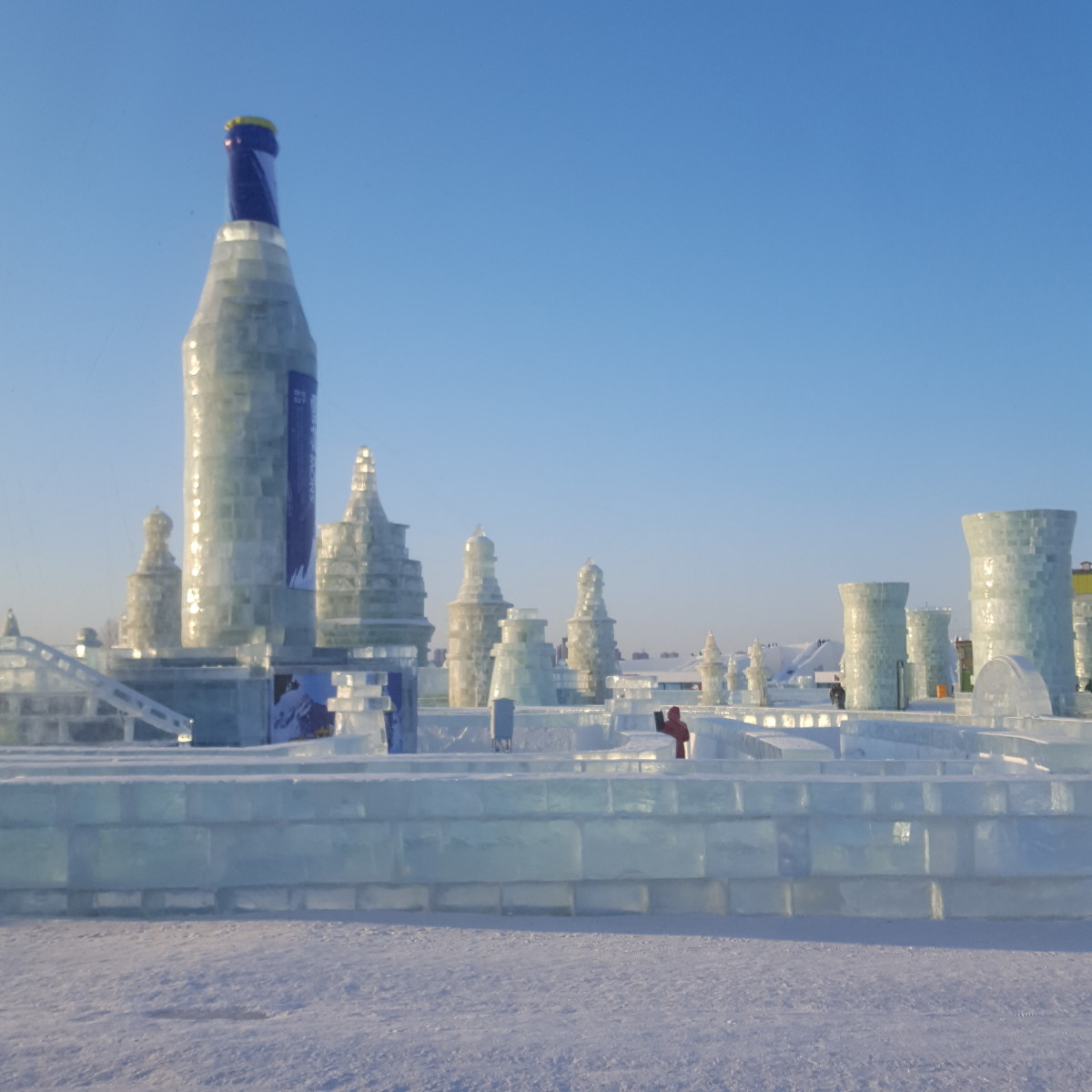 A crystal clear sky over an icy mini maze.