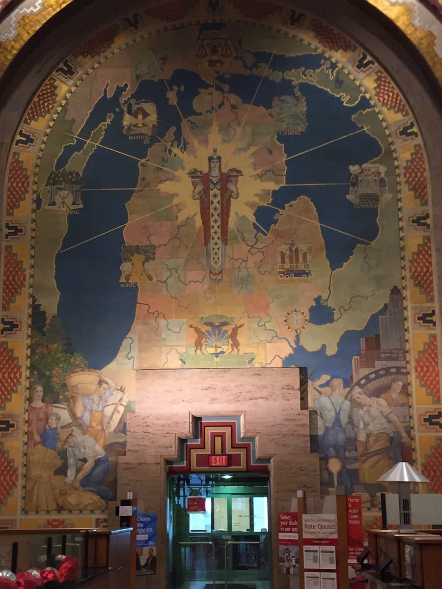 Michigan Mural in Guardian Building Lobby