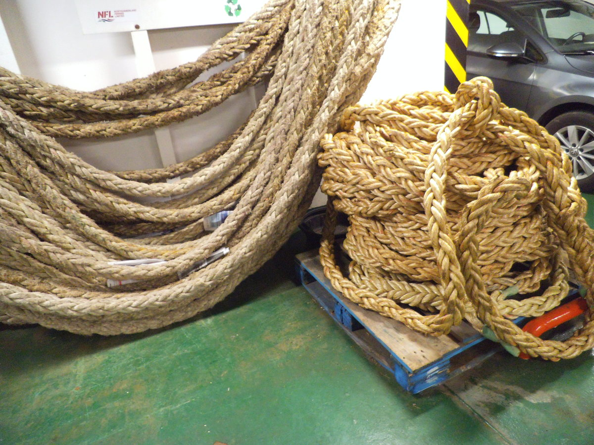 Giant ropes inside the ferry.