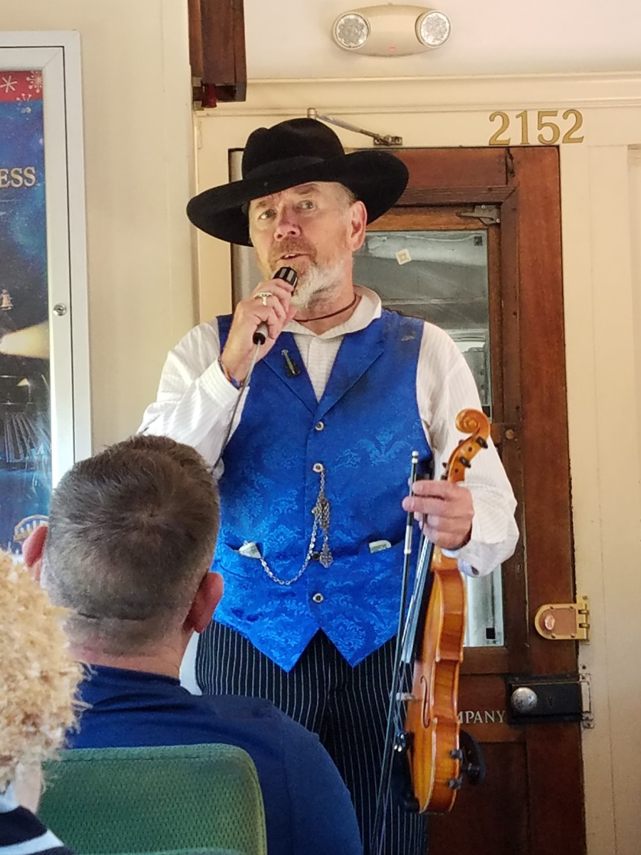 Live entertainment aboard the Grand Canyon Railway Train.