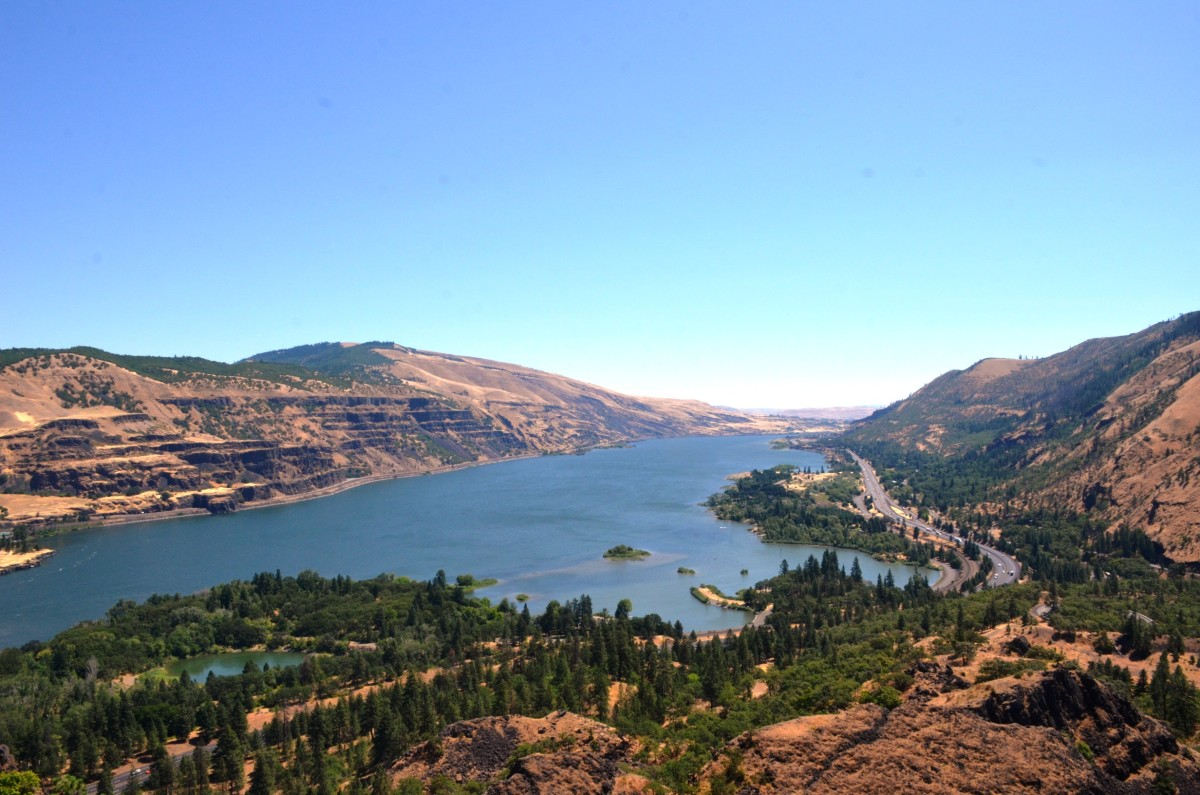 Looking east at Rowena Crest Viewpoint