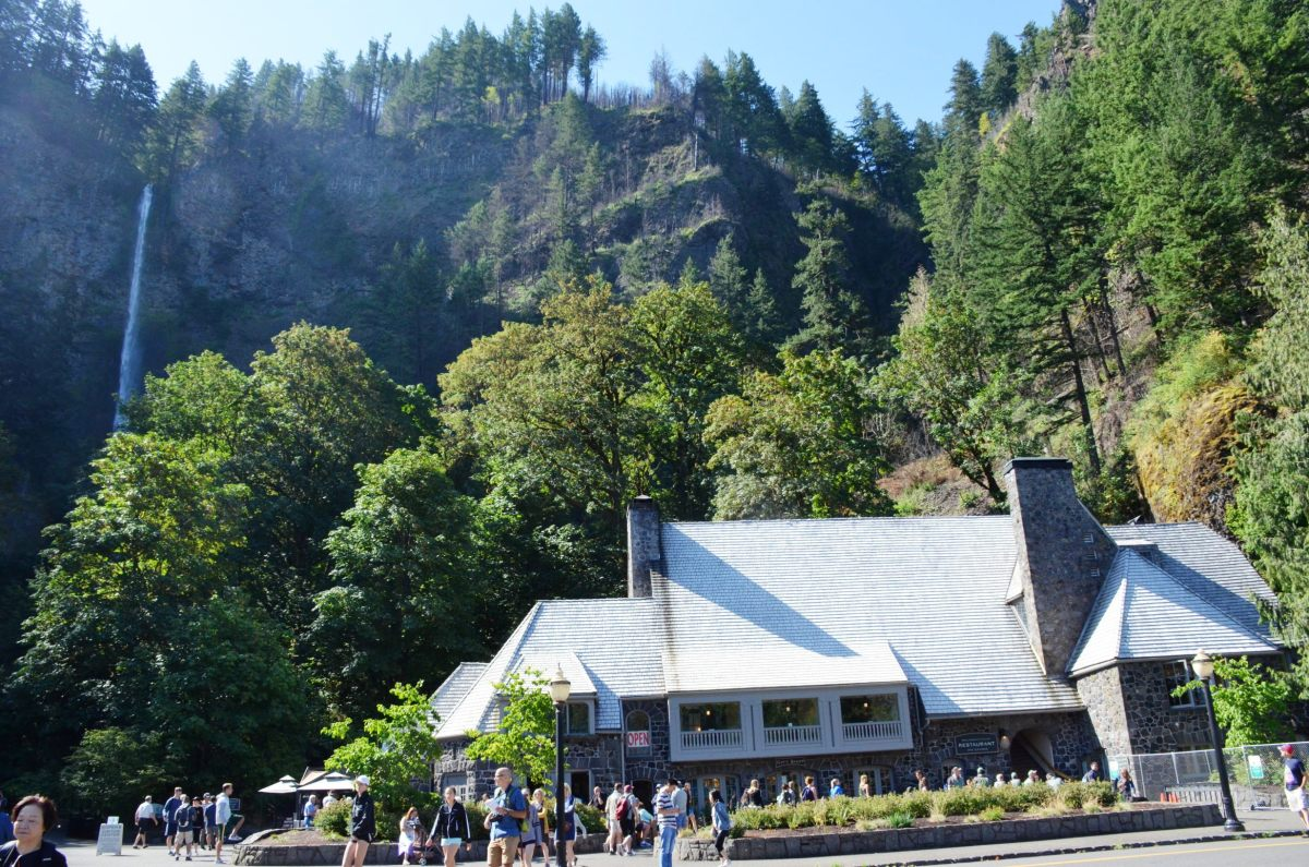 Multnomah Village with Multnomah Falls in the background.