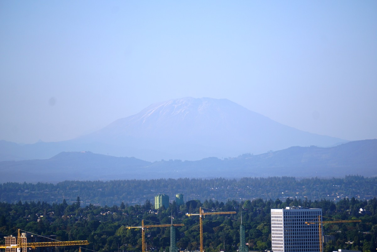 View of Mount St. Helens from OHSU campus near the Portland Aerial Tram.