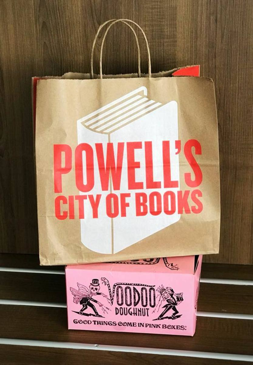 Powell's City of Books bag and Voodoo Doughnuts box - Portland