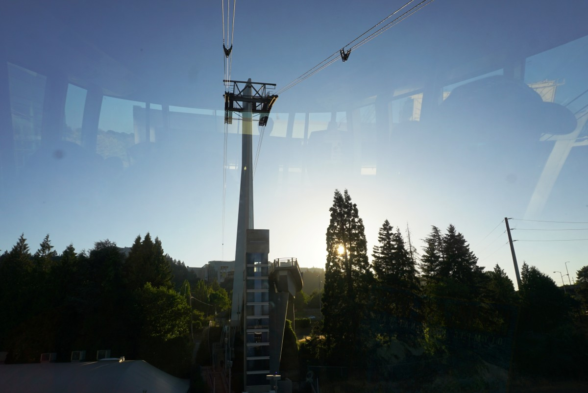 View from inside of the Portland Aerial Tram as it climbs up to OHSU campus.
