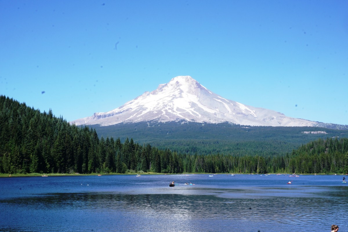 Mount Hood towering above Trillium Lake