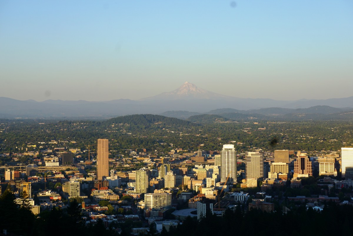 View of downtown Portland and Mount Hood from the Pittock Mansion.