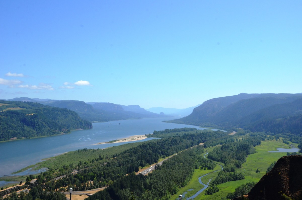 View from Vista House looking east in the Columbia River Gorge near Portland.