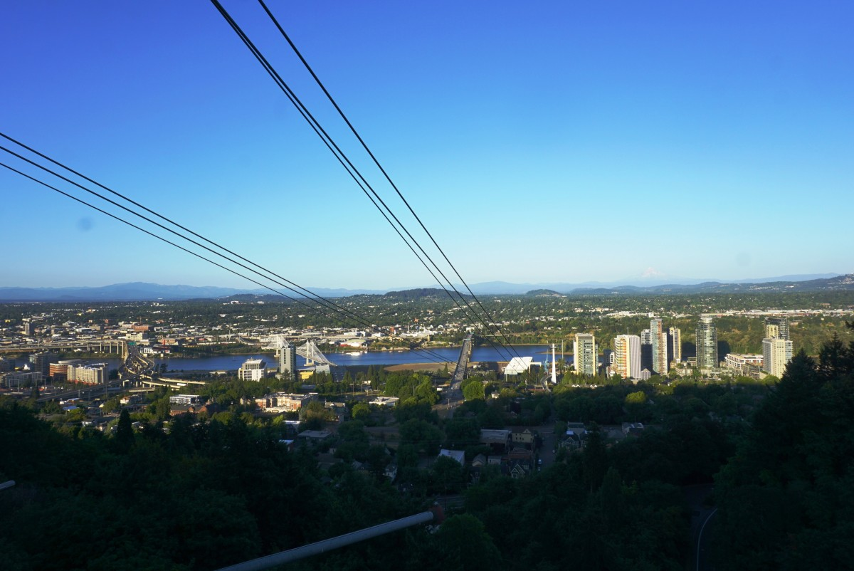 View from inside of the Portland Aerial Tram.