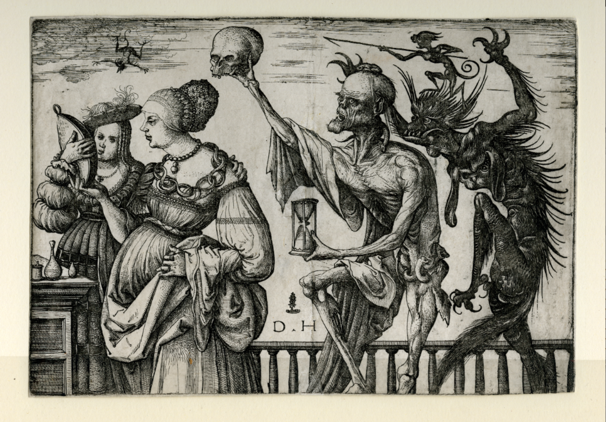 Death and the Devil Surprise Two Women (Daniel Hopfer circa 1520).