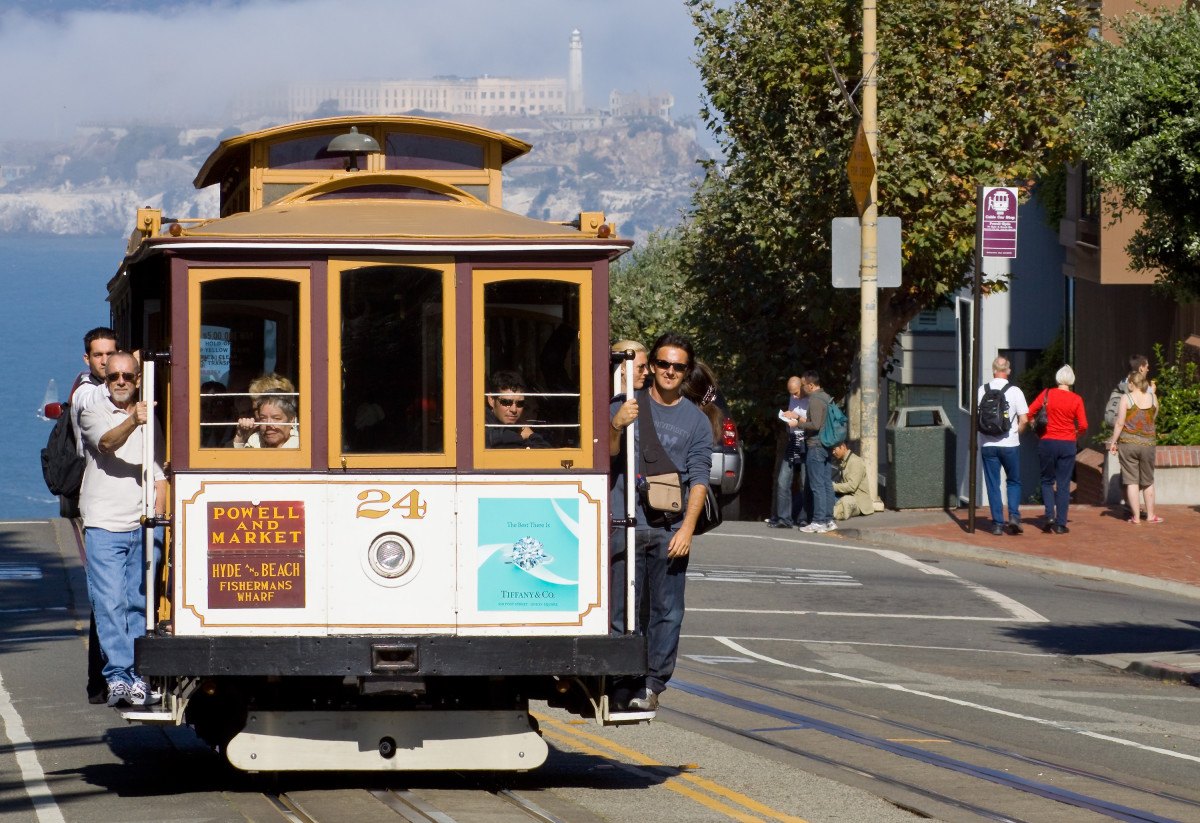 San Francisco Cable Car with Alcatraz in Background