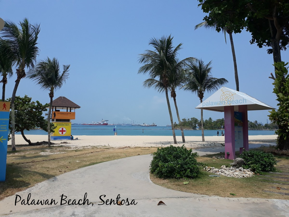 Beautiful sandy beach in Sentosa.