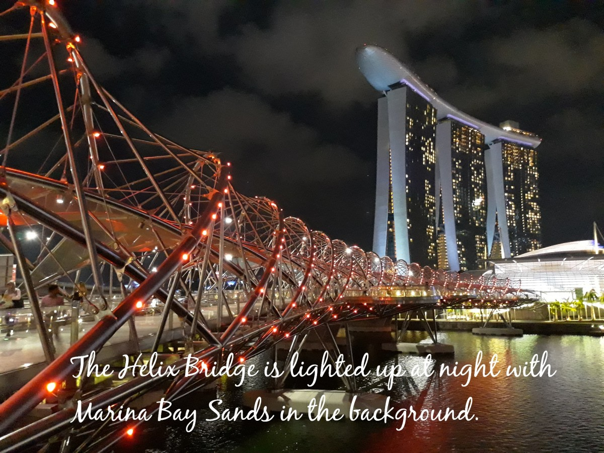 The Helix Bridge connects Marina Centre to Marina Bay Sands.