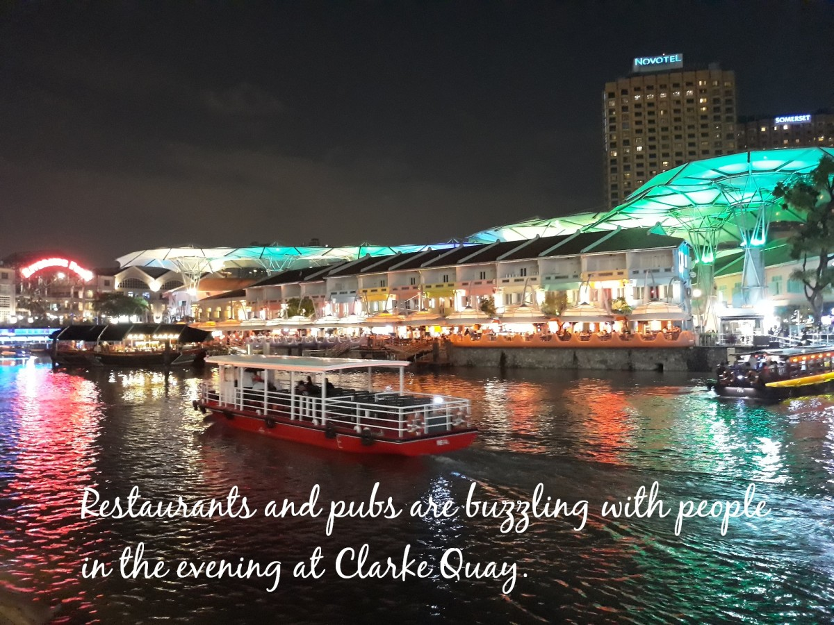 Clarke Quay comes alive after dark.