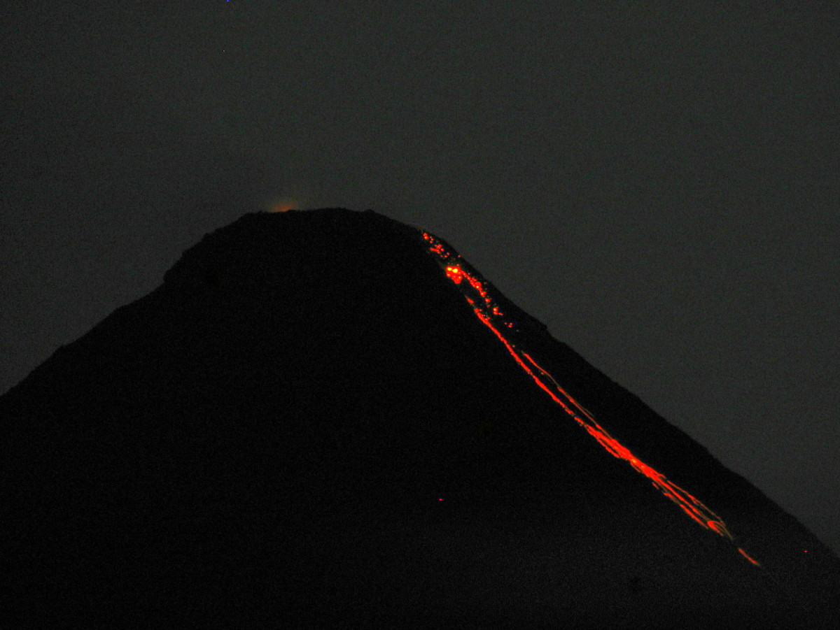 View of Arenal Volcano's lava flow from Lost Iguana Resort