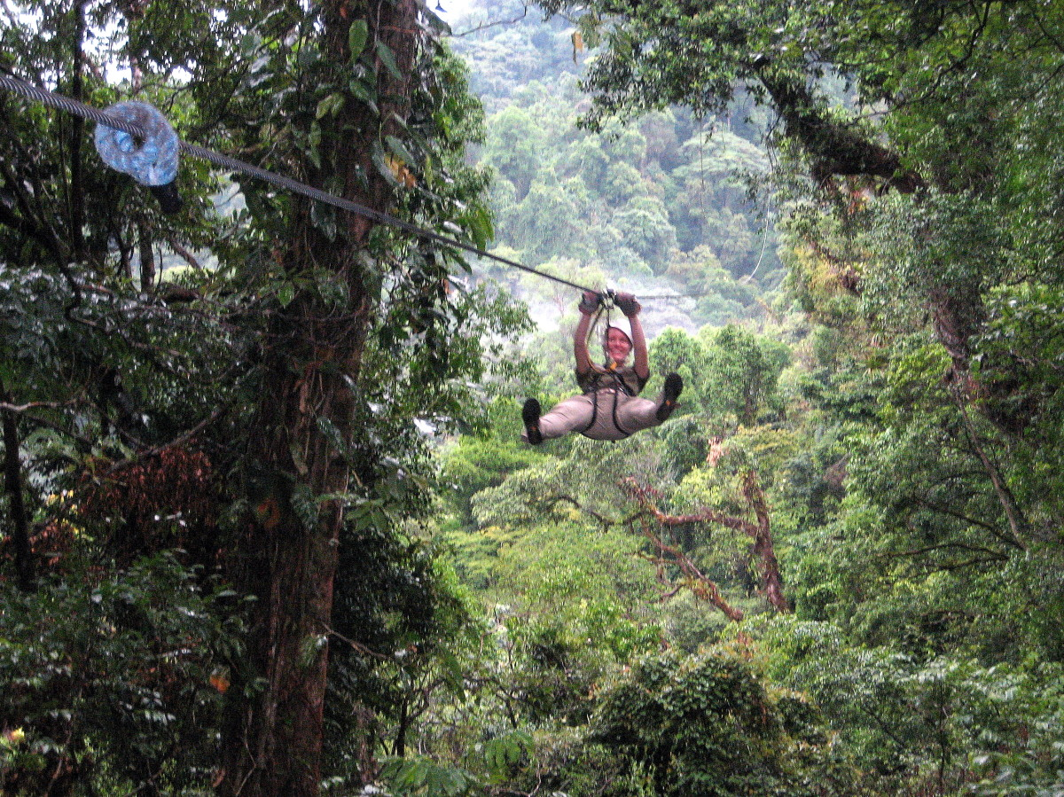 Zip-lining in Arenal Reserve