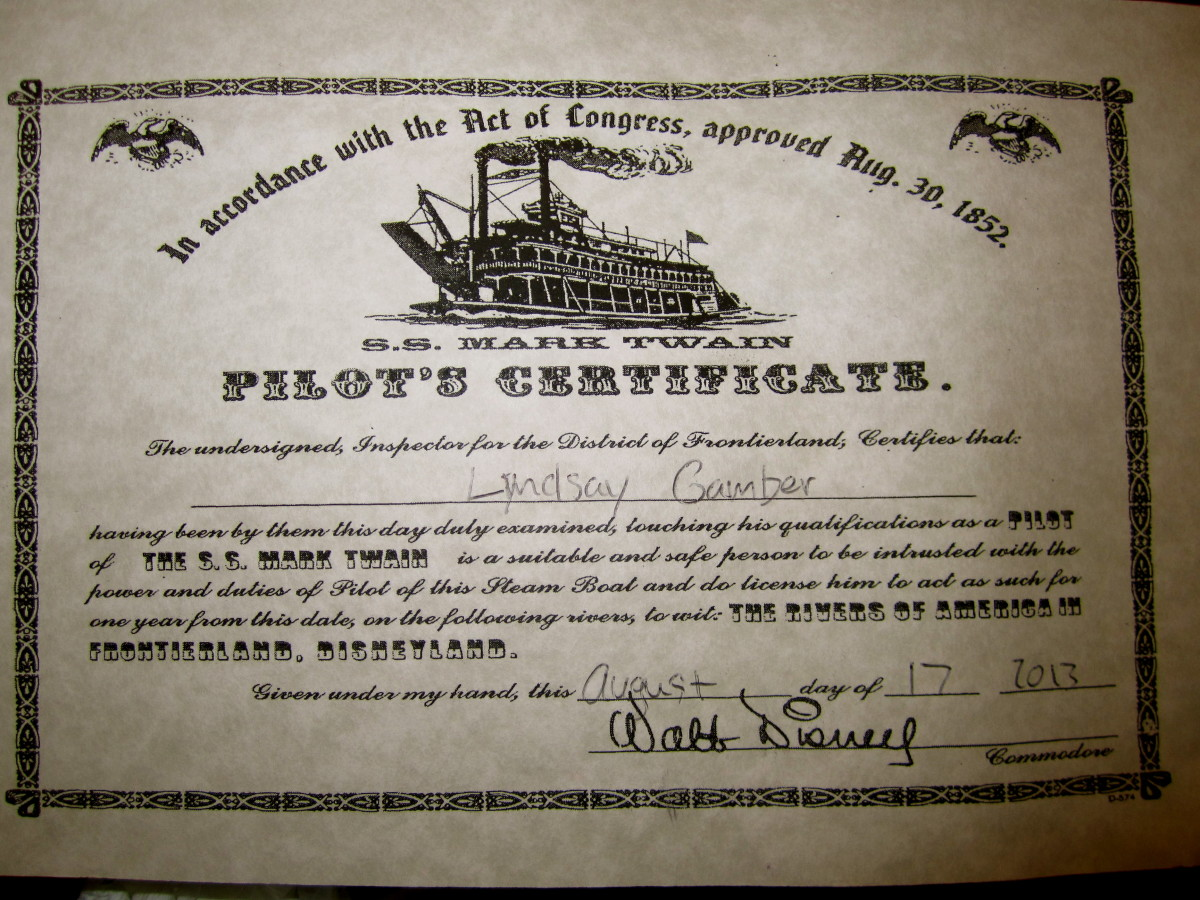 Here is my certificate I received after piloting the Mark Twain!