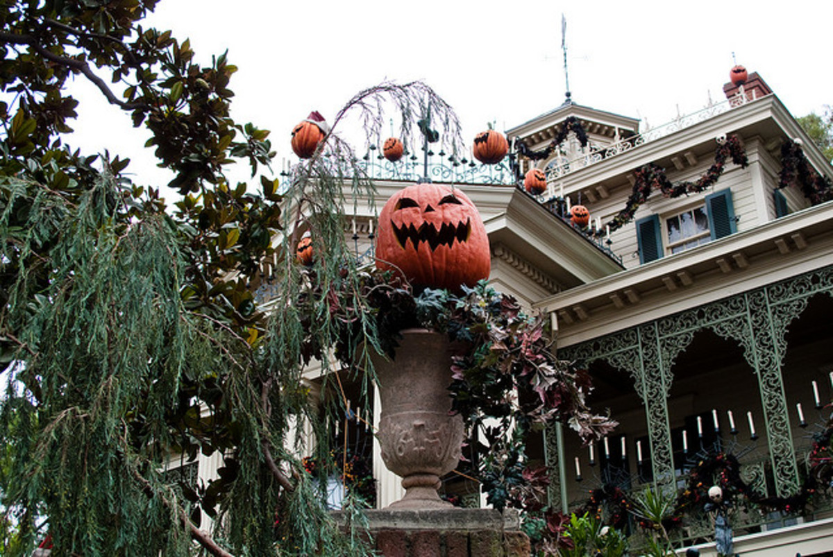 "The Haunted Mansion decorated for ""The Nightmare Before Christmas Spectacular."""