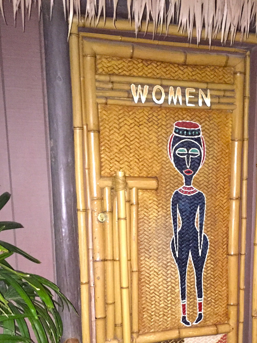The women's bathroom by the Tiki Room entrance.