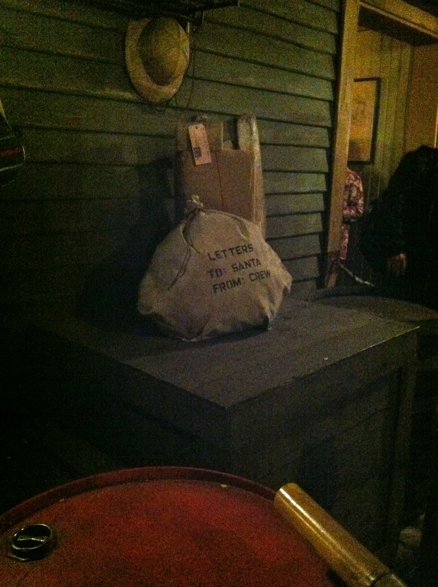 A bag of letters to Santa from the crew of the Jungle Cruise.