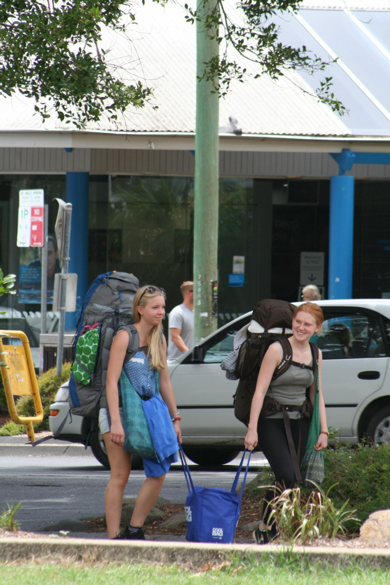 With backpacks this big, I hope these girls have been around the world, collected a myriad of souvenirs, and are on the last leg of their journey. For a simple trip to Byron Bay, you never need this much luggage.