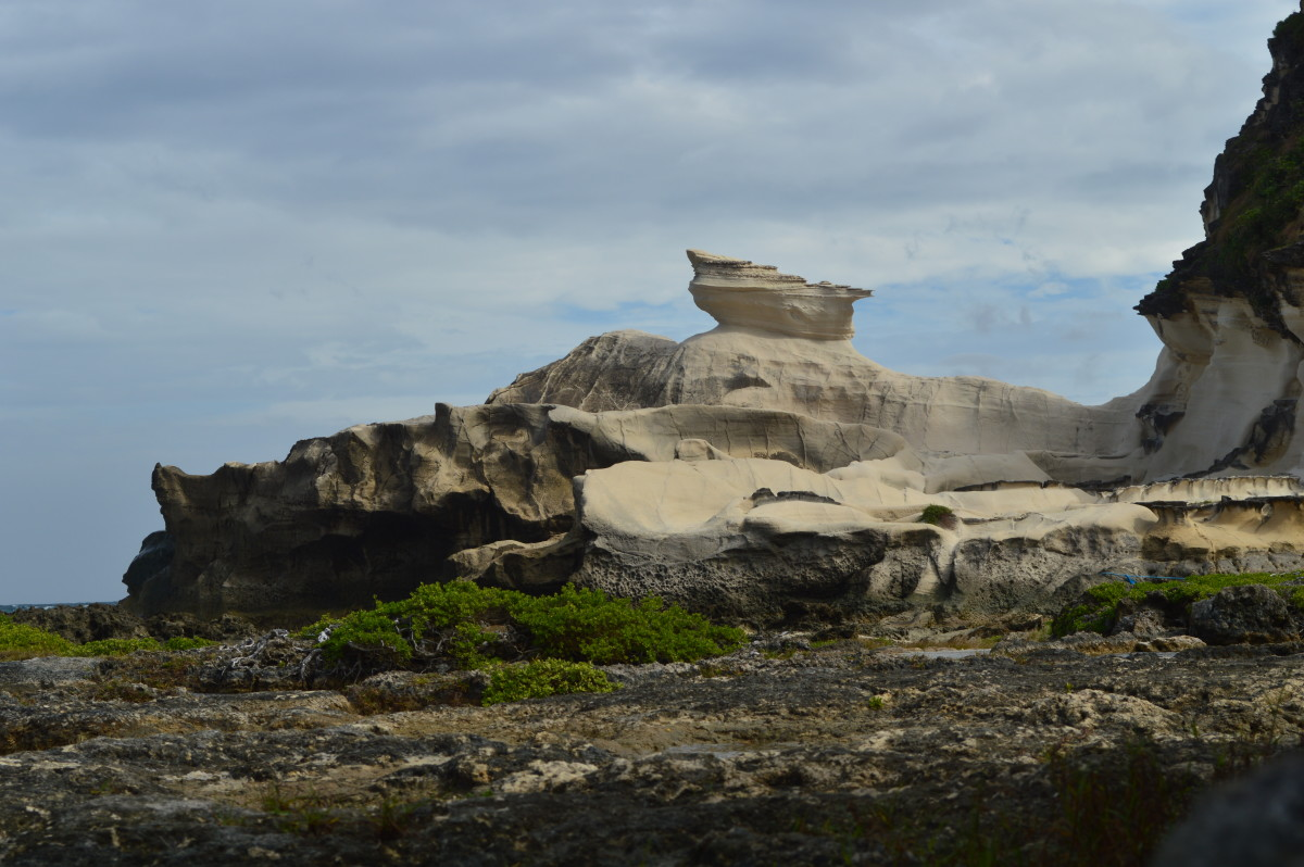 Kapurpurawan rock formation in the midst of the day