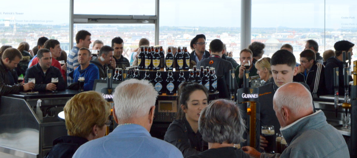 Guinness Brewery says the Guinness Storehouse is the most popular tourist attraction in Ireland. Visitors get a pint of Guinness as part of their visit.
