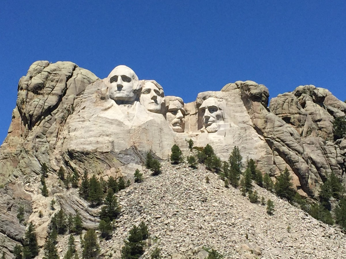 Here they are:  George Washington, Thomas Jefferson, Theodore Roosevelt, and Abraham Lincoln.  Sculptor Gutzon Borglum began work on the monument in 1927.