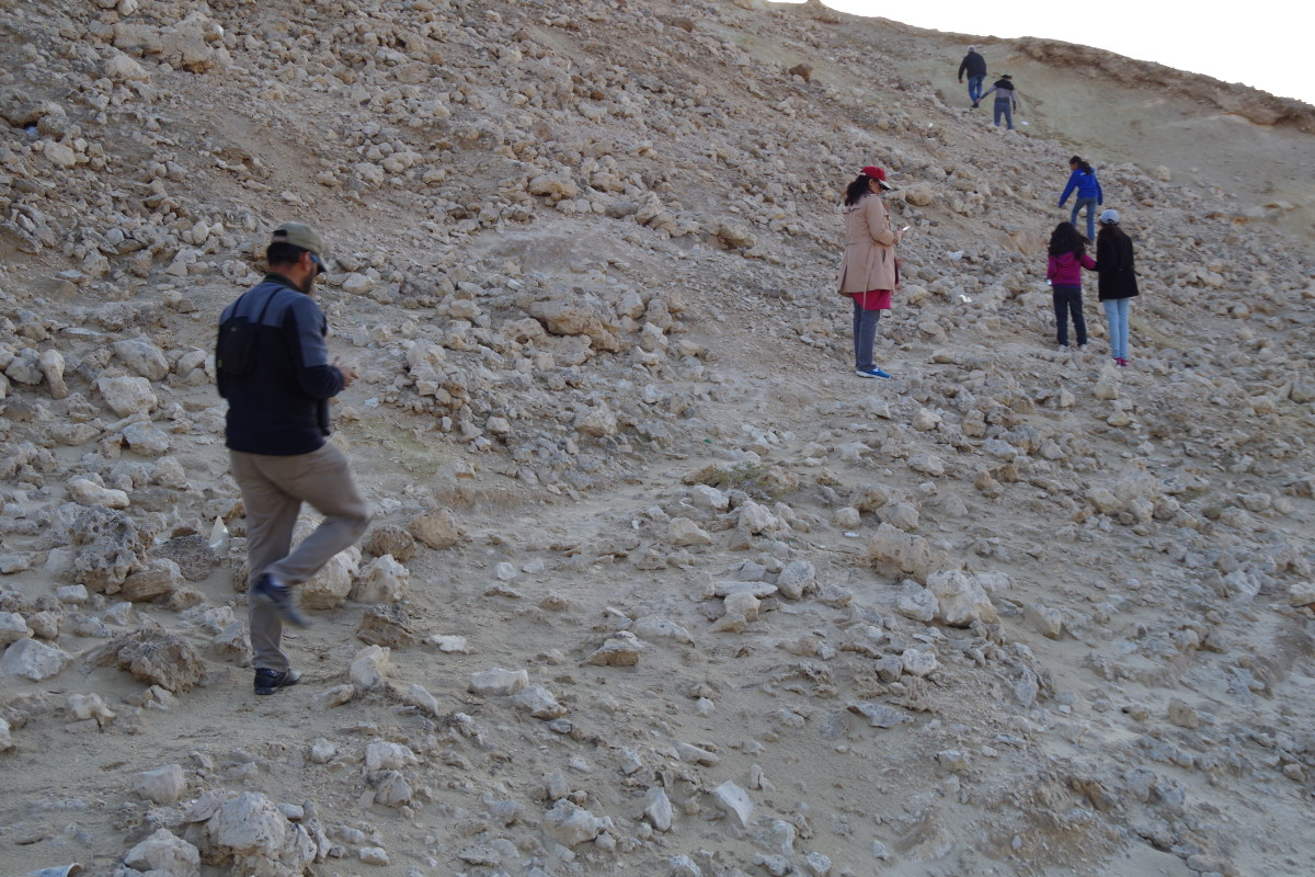 Some members of the entourage climbing up the barren and rocky hill (December 2015).