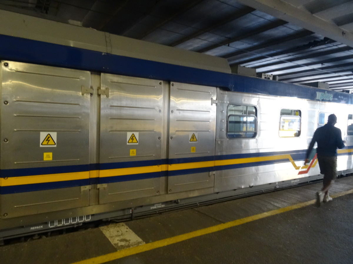 The new trains (which are arriving very slowly) are covered with stainless steel.