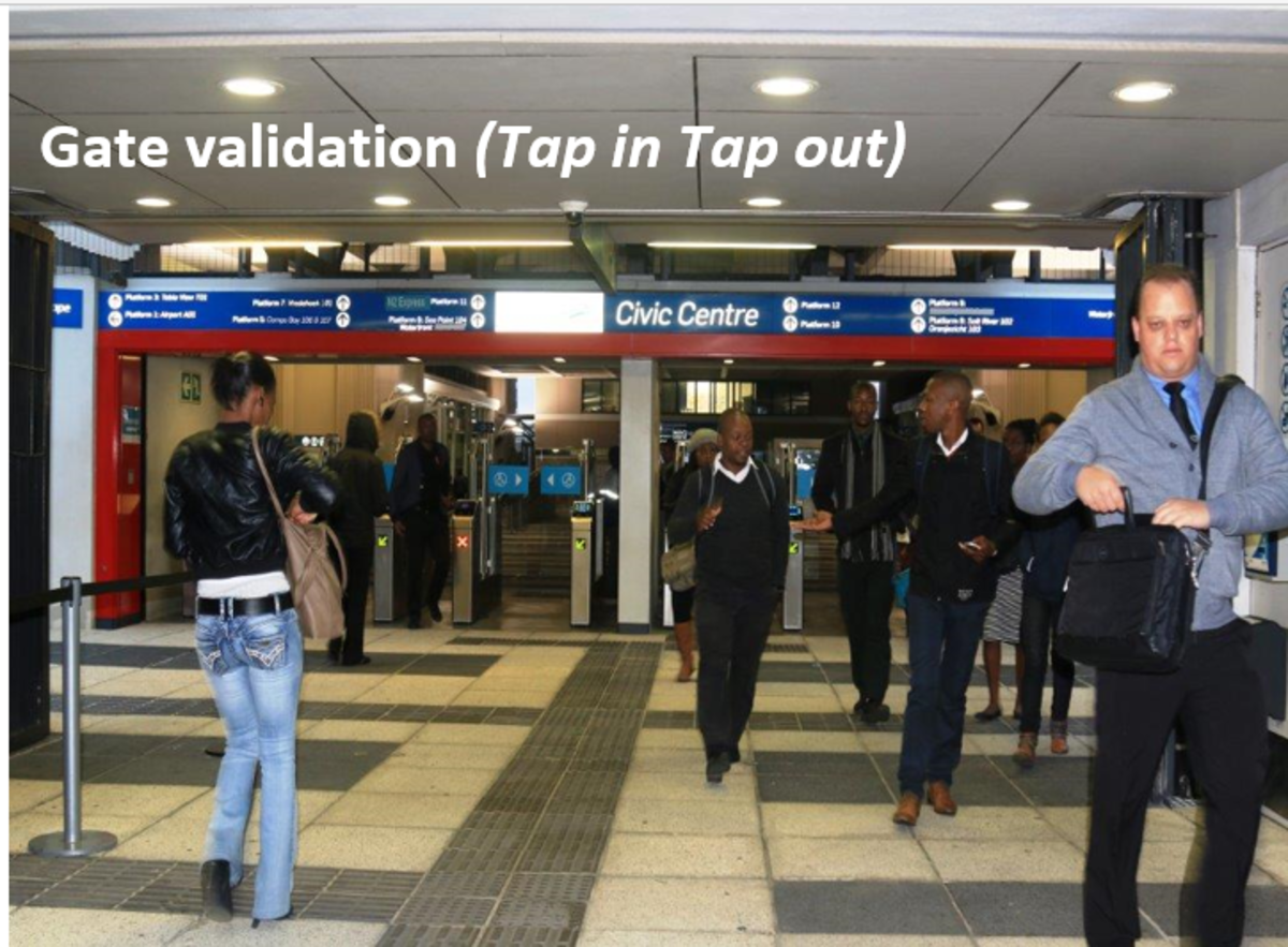 There are generally about three or four gates into the Myciti Bus terminus. Tape in when you enter and tap out when you leave.