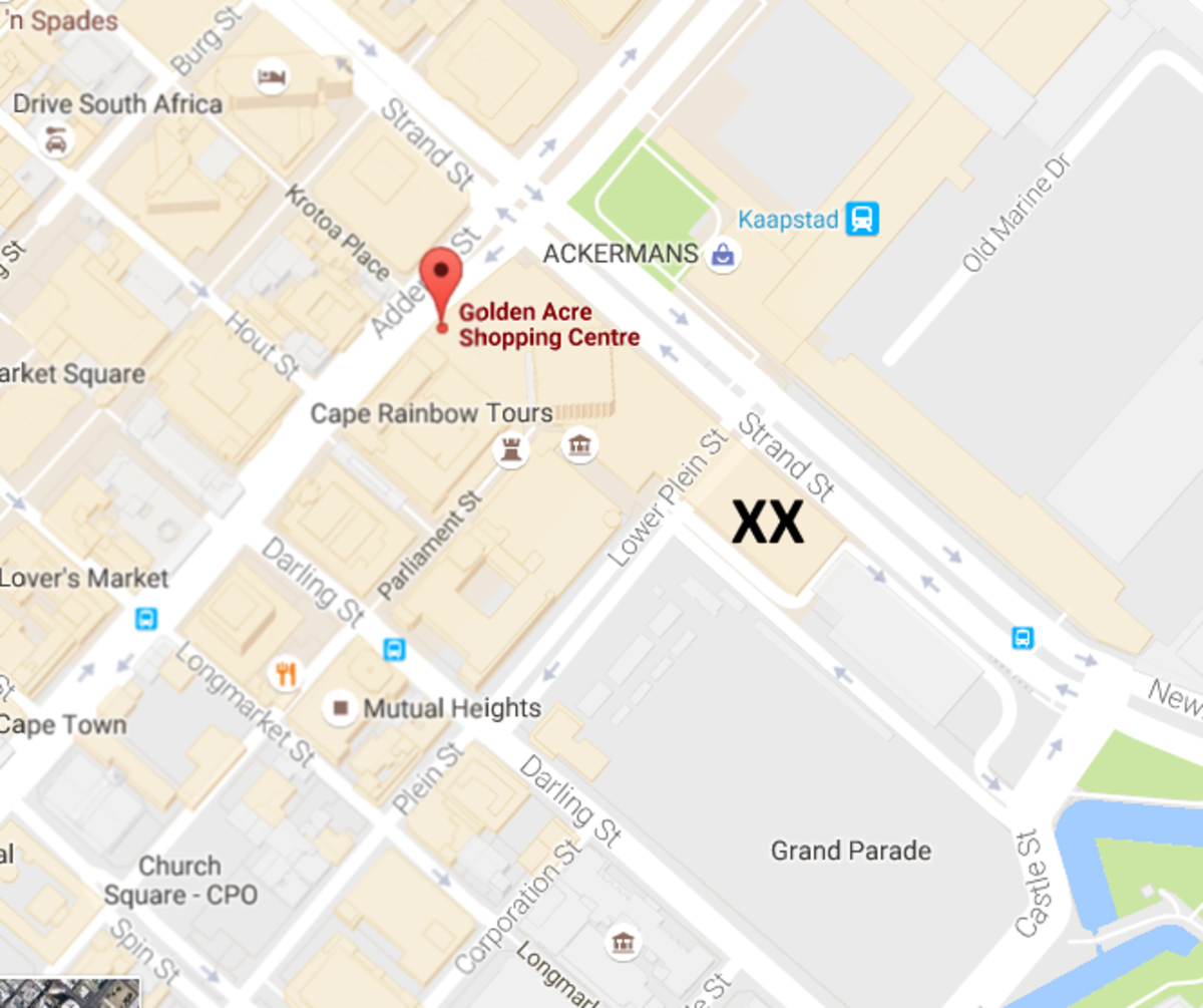 The main Golden Arrow terminus is situated behind the Golden Acre Shopping Mall in Adderley Street. The terminus is marked with XX.