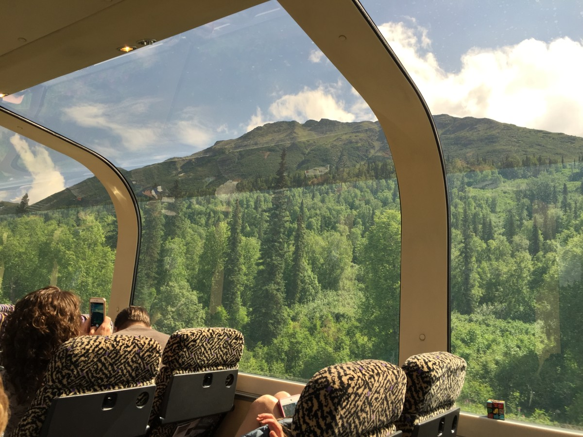 Ride in glass topped train from Anchorage to Denali