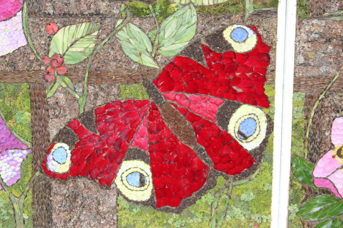 Close up of butterfly on well dressing