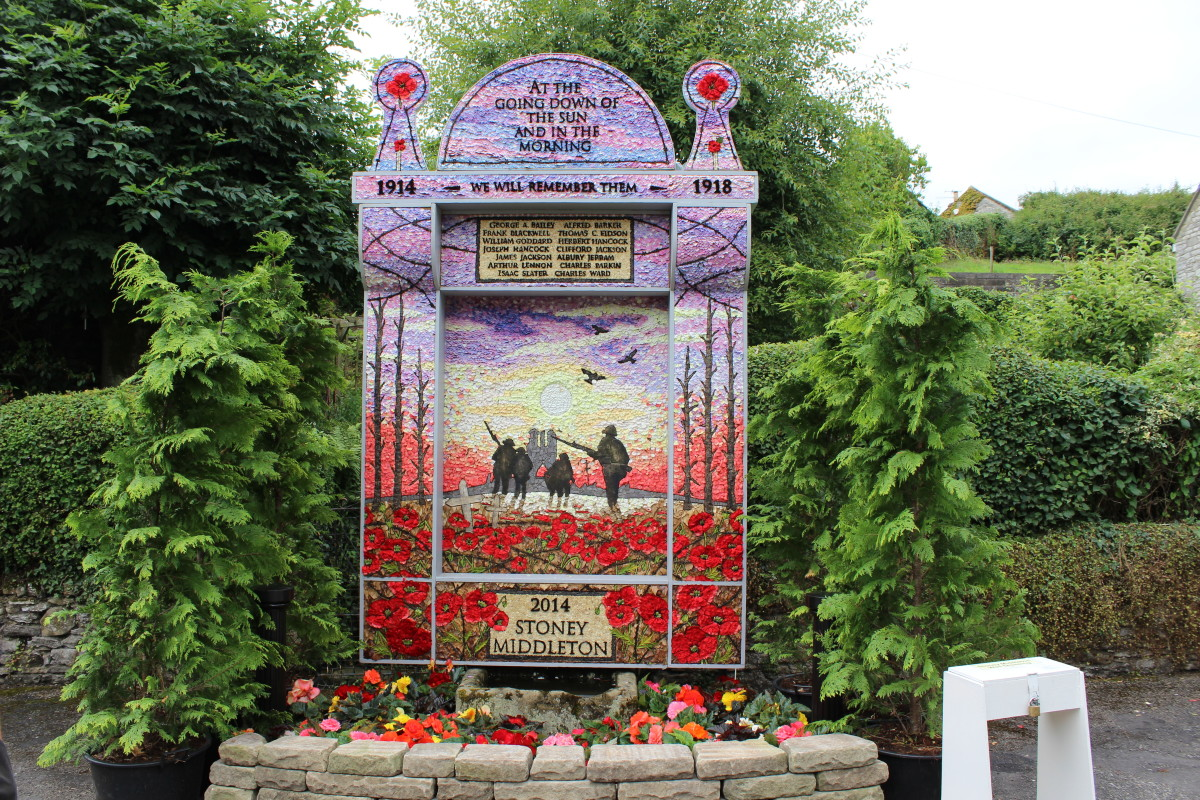 World War One well dressing at Stoney Middleton
