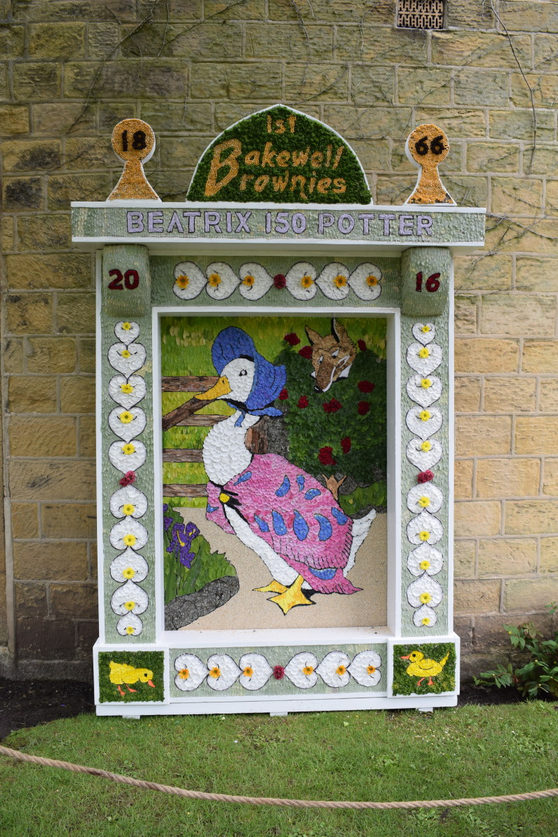 Well dressing commemorating the birth of Beatrix Potter