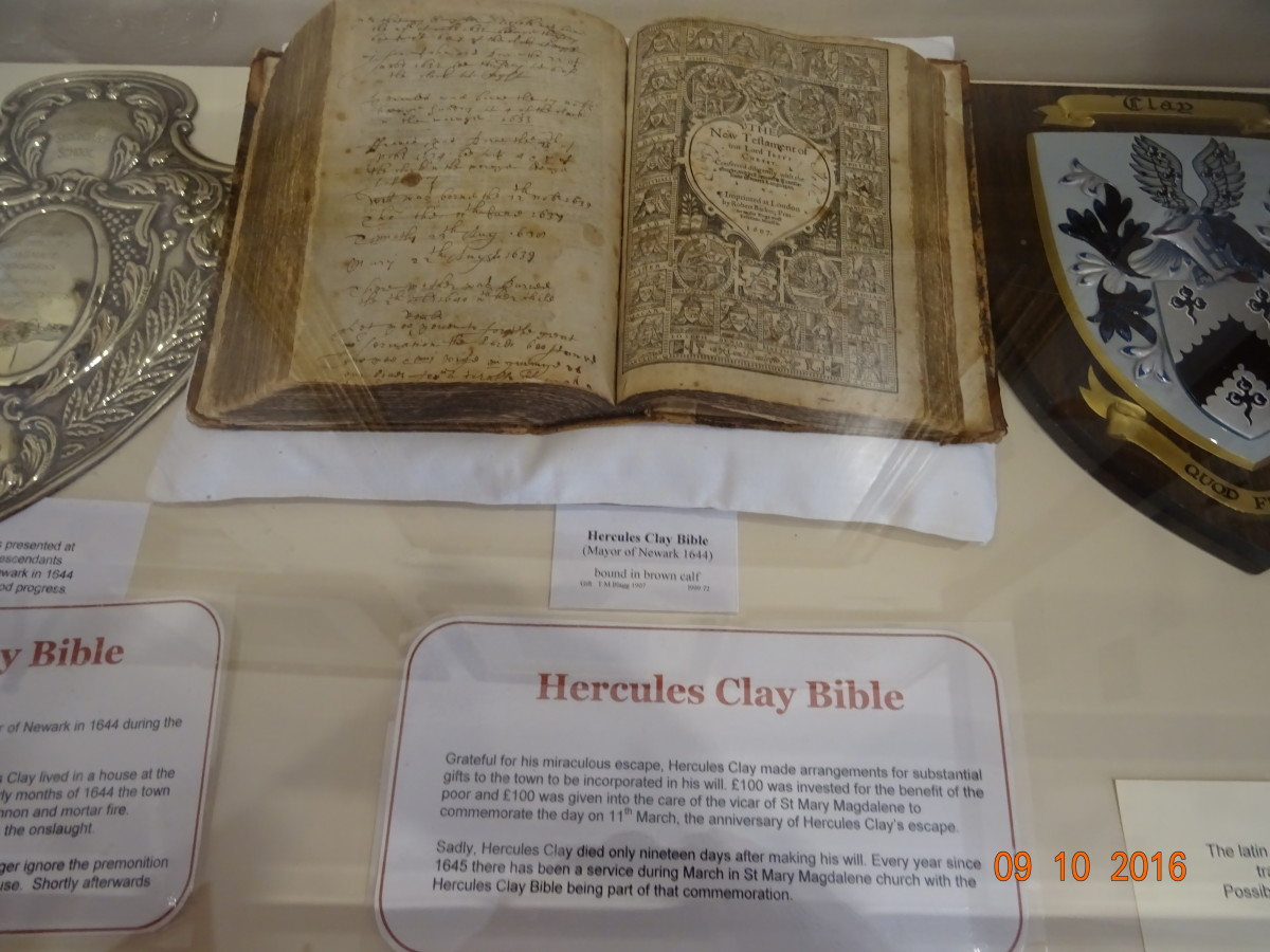 Exhibit in Newark Town Hall of the Bible That Belonged to Hercules Clay