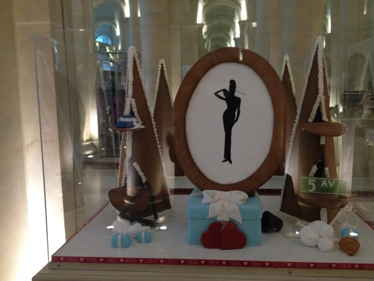 Breakfast at Tiffany themed Gingerbread House at Le Parker Meridien's free Gingerbread House event--- Another great free thing to do in New York City at Christmas