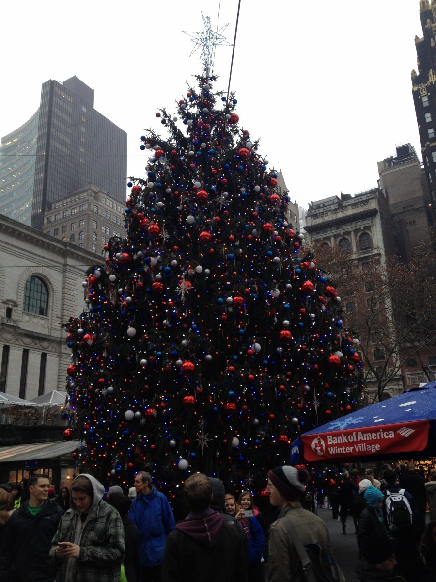 New York City's large  Christmas trees are great for family photos, also check out the free skating at Winter Village.