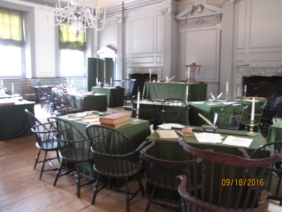 The Assembly Room in Independence Hall where all the work was done on  the Constitution.  The room is stark and dull by our standards, with some chairs, tables and a few ink wells. To look at it, you'd never think it had so much significance.