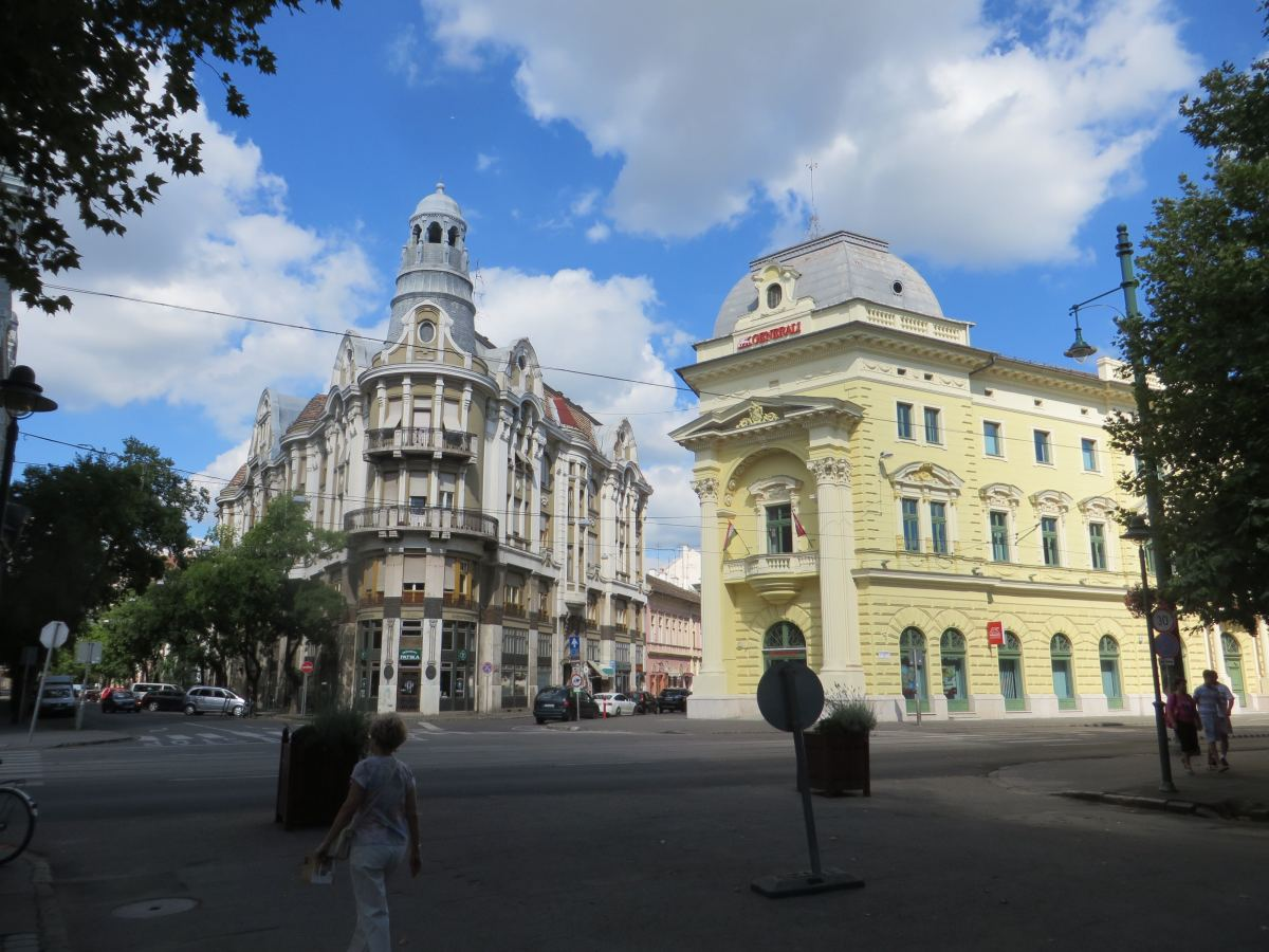 "View from the North side of Szechenyi Square. The building on the left is called the ""Iron House"" and was built in 1912-1913."