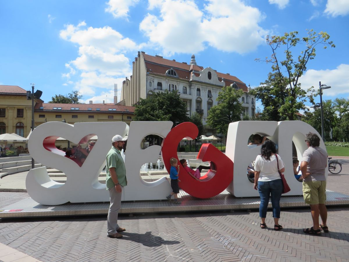 Szeged letter sign in Dugonics Square. These letters are always at different places in Szeged.