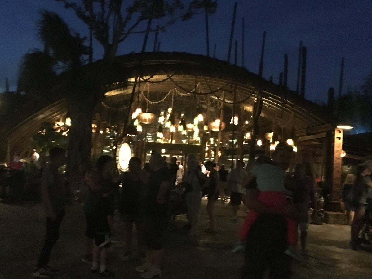 At night you can see into the canteen and see the large gourd lights.