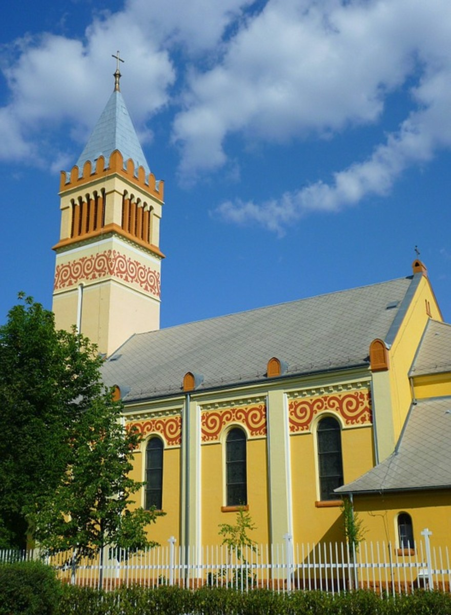 Colorful churches and buildings are typical of this area.