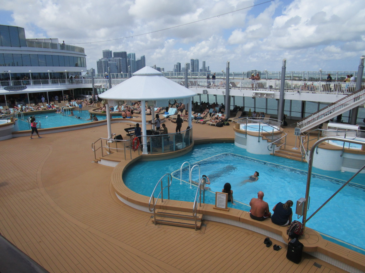 The pool deck.