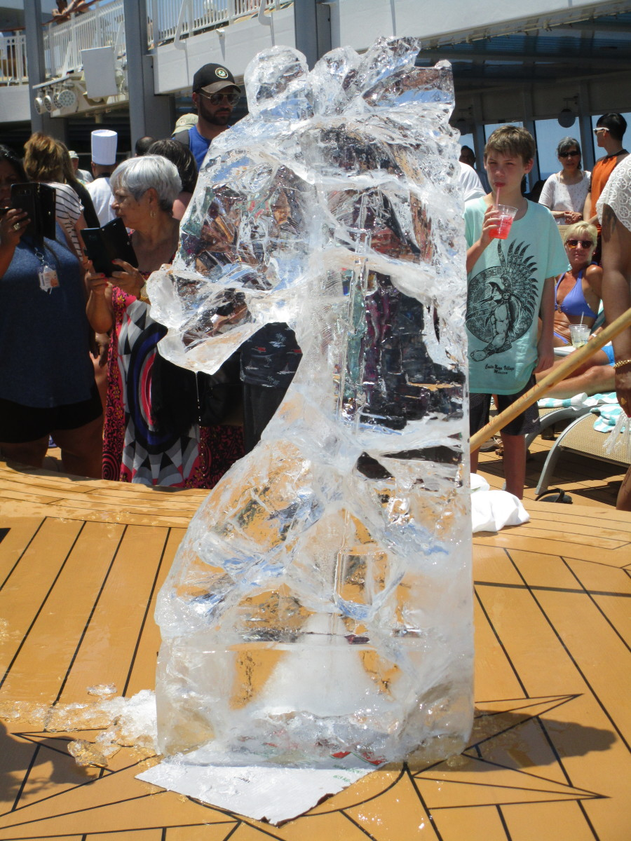 The horse head carved out of ice.