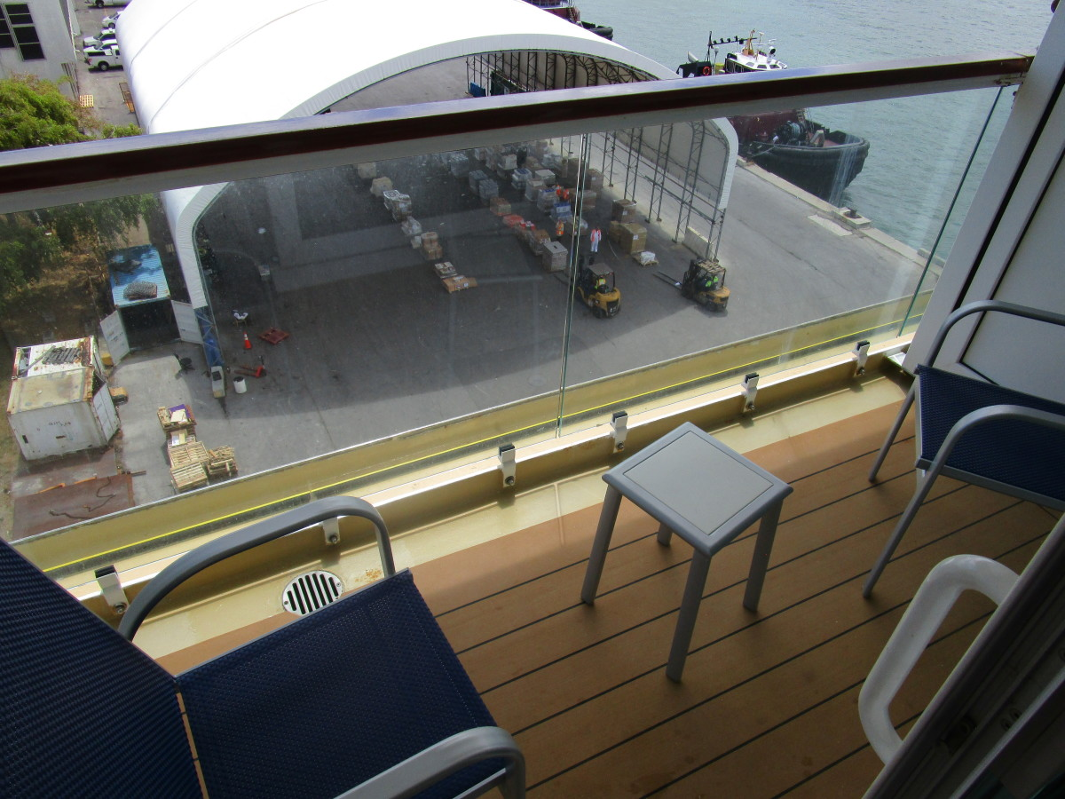 The surprisingly roomy balcony of our stateroom.