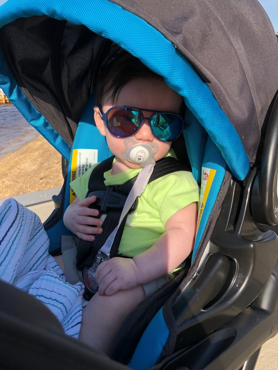 My cool dude all set up in his car seat/stroller
